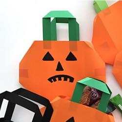 儿童手工折纸南瓜灯糖果袋的折法图解
