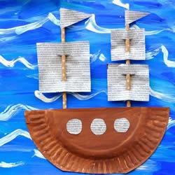 哥伦布日手工制作纸盘帆船的做法教程
