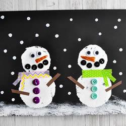雪中的雪人��制作 可以做成�}�Q新年卡片