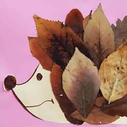 简单树叶贴画秋天的刺猬的做法教程