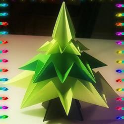 简单折纸立体圣诞树的折法详细步骤图