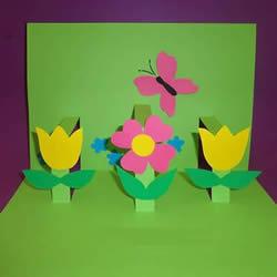 儿童手工制作春天立体贺卡的做法教程
