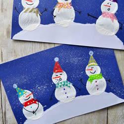 可爱雪人!幼儿手工制作新年卡片的做法教程