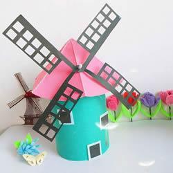 奶粉罐手工制作荷兰风车的做法教程