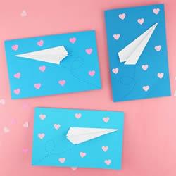 折叠纸飞机手工制作浪漫情人节卡片的做法