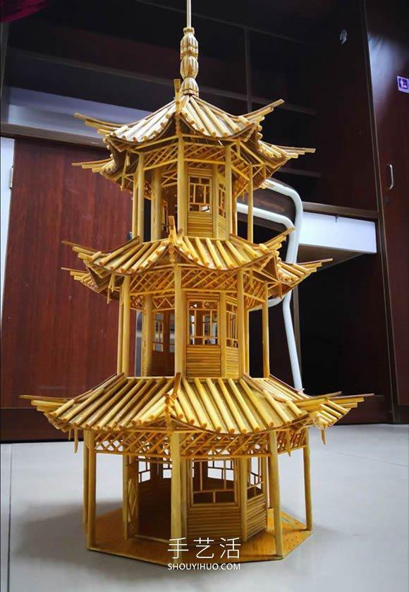 一次性筷子做古代是塔的制作方法教程 -  www.shouyihuo.com