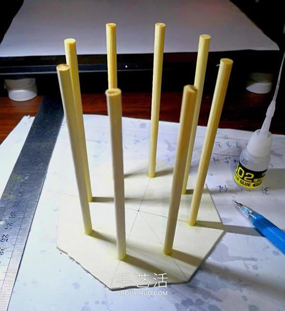一次性筷子做�任古代塔的制作方法教程 -  www.shouyihuo.com