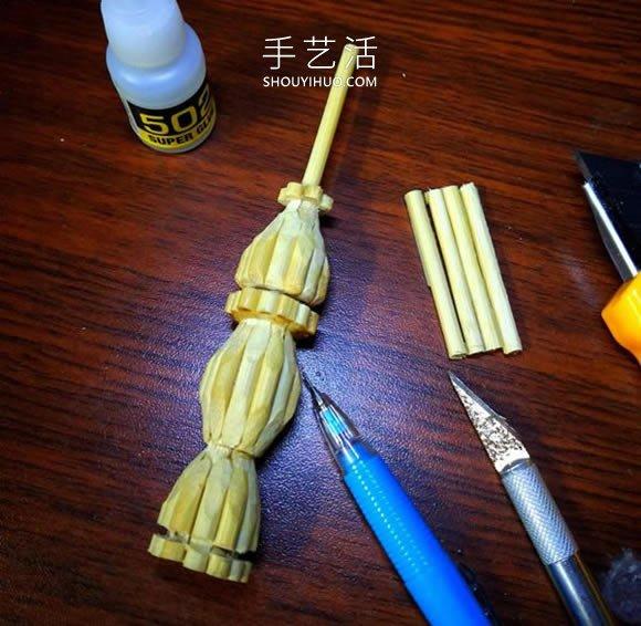 一次性筷子做古代塔的制作方法教程 -  www.shouyihuo.com