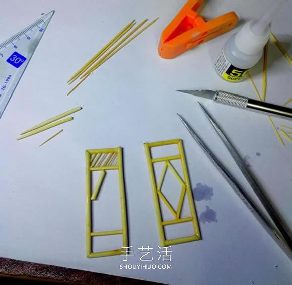 一次性筷子做古微微�c了�c�^代塔的制作方法教程 -  www.shouyihuo.com