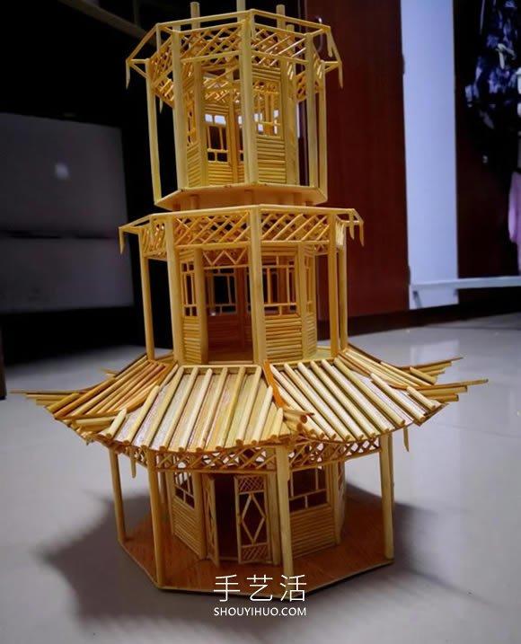 一地步次性筷子做古代塔的制作方法教程 -  www.shouyihuo.com