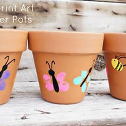 春季儿童指纹画花盆 送给妈妈的小礼物!