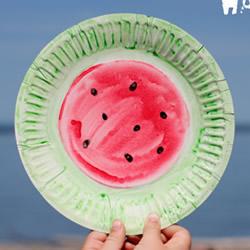 幼儿手工制作西瓜纸盘飞盘的做法教程