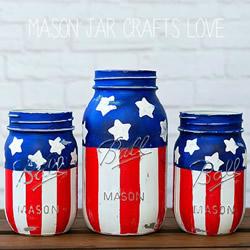 美国国庆节星条旗玻璃瓶装饰品的做法教程