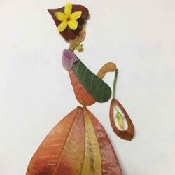 树叶粘贴画人物穿裙子怎么做的过程图解