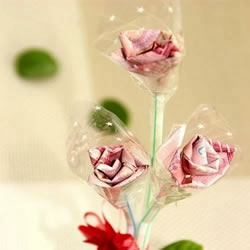 一百元面值人民币折玫瑰花的步骤图解