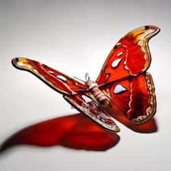 逼真蝴蝶玻璃雕塑!以�l�R�缃^的蝴蝶�樵�型