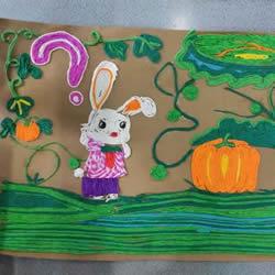 皱纹纸贴画图案步骤关于兔子和南瓜