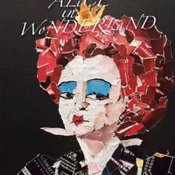 旧杂志拼贴拼贴人物头像画红皇后和疯帽子