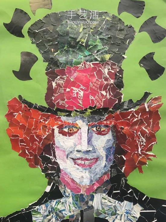 幼儿园黑色卡纸儿童画_旧杂志拼贴拼贴人物头像画红皇后和疯帽子_手艺活网