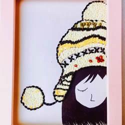 可爱女生人物豆子粘贴画制作方法