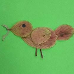 树叶贴麻雀的制作方法图片教程