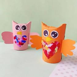 厕纸筒可以做的手工,可爱猫头鹰!
