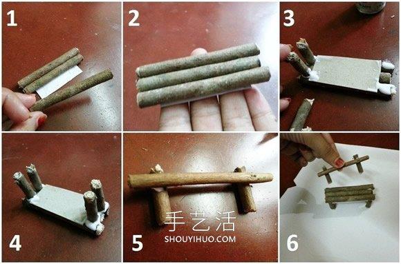 幼�河�渲ψ鏊偎龠M�黹L椅和桌子的手工教程 -  www.shouyihuo.com