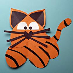 用纸粘贴制作老虎贴画怎么做