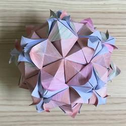 漂亮花球折纸教程步骤图解分享