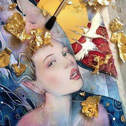耀眼金箔细节照亮超凡脱俗的神秘女性肖像画
