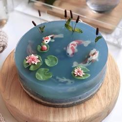 父亲节透明果冻蛋糕DIY,像一个真的锦鲤池塘
