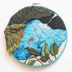刺绣制成的田园海景,分享对生活的简单热爱