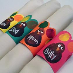 感恩节指纹火鸡餐巾环手工制作教程
