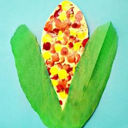 手指画秋天的玉米手工制作教程