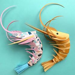 艺术家分享免费模板,帮助大家制作纸虾模型