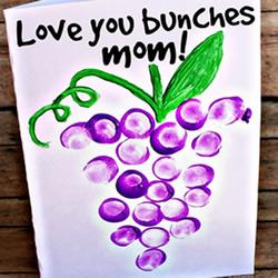 母亲节/父亲节通用指纹葡萄贺卡手工制作