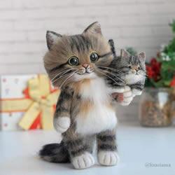 令人难以置信的可爱羊毛毡猫!超逼真的收藏品