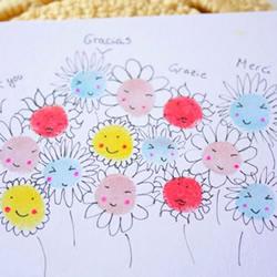 指纹画花朵贺卡的做法简单又可爱