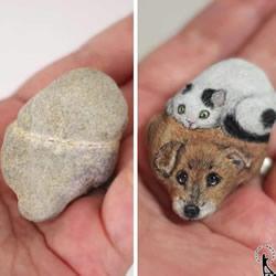 将普通的石头DIY成可爱手掌大小的动物