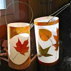 秋天落叶手工制作中秋节灯笼的做法