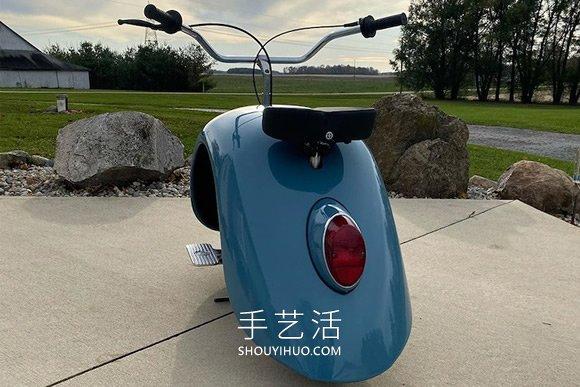 大众甲壳虫汽车DIY改造成迷你摩托车 -  www.shouyihuo.com