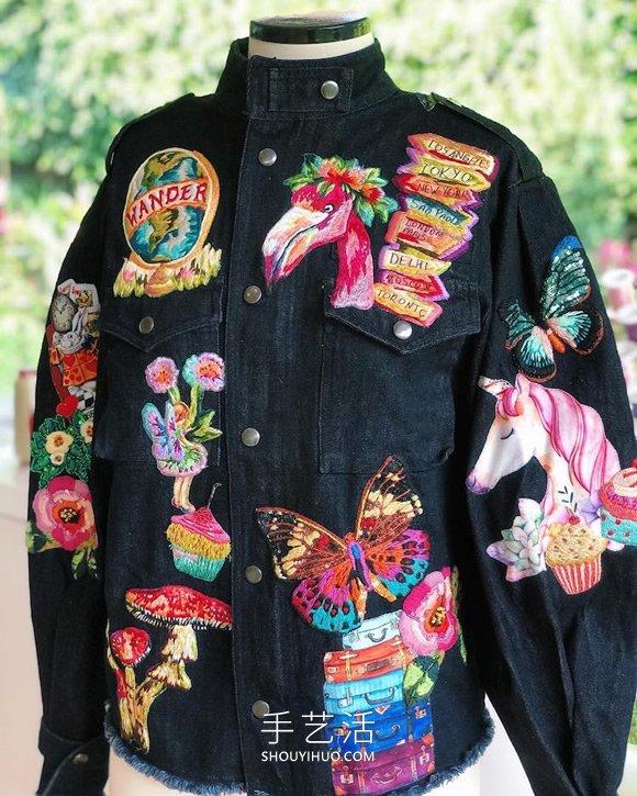 拉丁美洲刺绣艺术家的手工刺绣牛仔夹克 -  www.shouyihuo.com