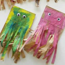 幼儿园纸袋手工制作水母的做法教程
