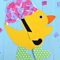 雨天的鸭子纸贴画手工制作教程