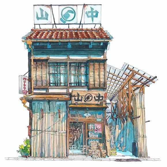 梦幻的日本店面!波兰动画师虚构的水彩画 -  www.shouyihuo.com