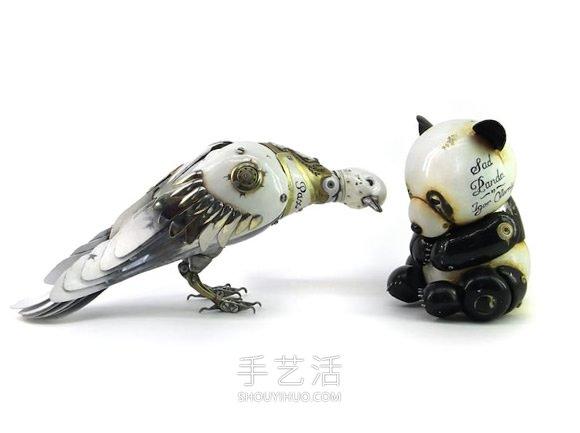 丢弃的机械零件DIY蒸汽朋克风的动物雕塑 -  www.shouyihuo.com
