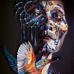印象派风格的衍纸人物肖像作品图片